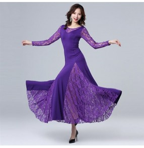 Women's wine purple black lace ballroom dancing dresses pratice stage performance waltz tango dance dress