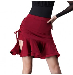 Women's wine red black latin dance skirt competition salsa chacha rumba dance skirts