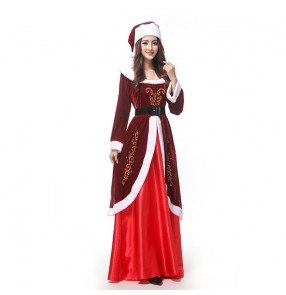Women's wine red christmas party stage performance dress drama film santa cosplay dress night club bar dance photos shooting dress for female