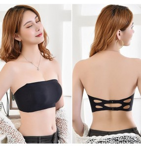 Women's wireless strapless bra for performance safety wrap chest bra top for female