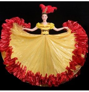 Women's yellow sequin flamenco bull dance dresses paso double dance dress opening dance chorus singers host ballroom dancing dresses