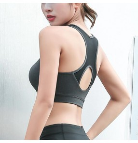 Women's yoga high impact workout push up bra sports running gyms quick drying tank top wire free bra with removable pad