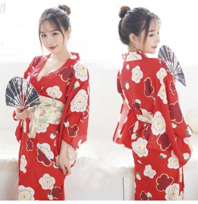 Women Sexy anime Cosplay Kimono Yukata With Obi Novelty Evening Dress Japanese Cosplay Costume Floral One Size