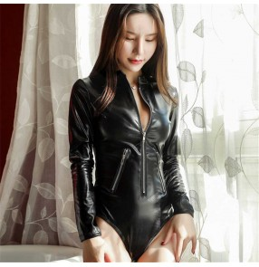 Women Sexy lingerie sexy one-piece open chest metal zipper tight corset temptation leather game uniform patent leather