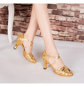 Women silver gold coffee Latin dance shoes adult ballroom dance high-heeled soft bottom modern dance shoes female silver waltz dance shoes