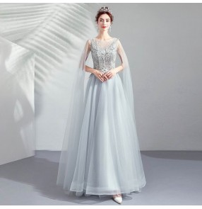 Women silver long- tulle sleeved dinner evvening party dresses annual party show catwalk host singers wedding bridesmaid dress
