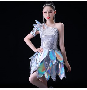 Women silver sequin jazz dance dress Modern dance fashion group gogo dancers suit stage jazz dance clothes female ds singers performance clothing female suit
