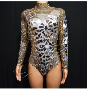 Women silver with gold lens singer gogo dancers jazz dance bling bodysuits model photography DjDs elastic golden rhinestone stage play gogo carnival concert party cosplay catsuits for female