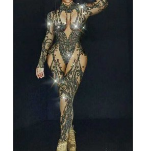Women singer Ds gogo dancers bling jazz dance jumpsuits nightclub bar dance outfits for women female long-sleeved one-piece rompers free diving stage costume