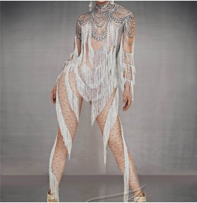 Women singer go go dancer skin color jumpsuits Car model catwalk ring acrobatic one-piece catsuit host dj tassel stretch one-piece stage performance costume female