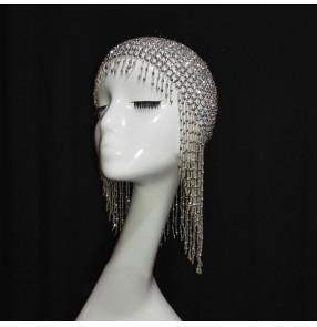 Women singer jazz dance bling hats bar Nightclub dj ds beaded diamond hair accessories modern dance carnival party gogo dancers headdress tassel hat