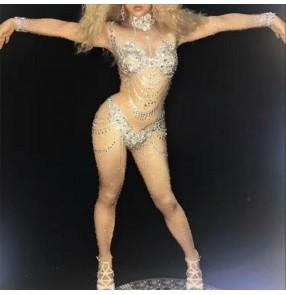 Women singer skin color jazz dance bling jumpsuits Car model steel pipe dj gogo bar nightclub sexy diamond rompers for female gogo dancer dance costume