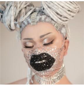 Women singers gogo dancers bling masks Nightclub personality masqurade party decoration rhinestone diamond shape mask face mask pole dance dj ds dancer stage costume props female