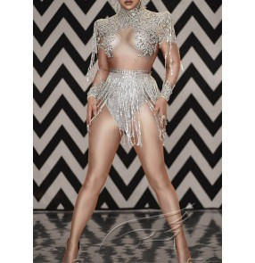 Women singers gogo dances skin color with silver sequined jumpsuits Nightclub female car model Dj ds concert prom party bodysuits fashion sequined tassel stretch high fork one-piece stage catsuits