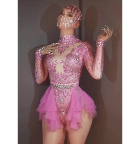 Women singers jazz dance costumes pink red rhinestones jumpsuits Bar ds nightclub diamond bodysuits model gogo dancers xmas carnival party hot dance performance outfits for lady