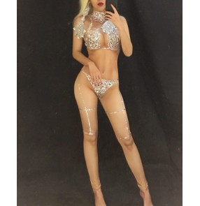 Women skin color sexy jazz dance bodysuits Nightclub dj ds gogo steel pipe pole dance rompers car model sexy long piece naked catsuits performance stage costumes for women