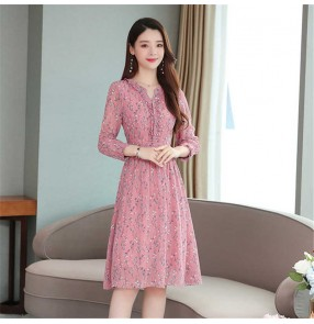 Women Spring autumn chiffon pink floral long-sleeved dress French temperament mid-length waist skirt