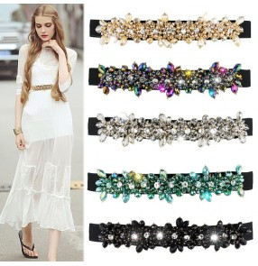 Women stage performance model show  rainbow green Crystal elastic bling waistband ladies belt casual corset diamond chiffon lace dress girdle