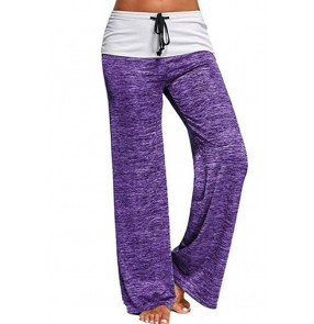Women stitching yoga fitness gyms long pants quick-drying sports trousers outdoor leisure wide-leg pants