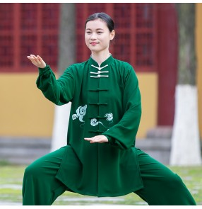 Women tai chi clothing green color kung fu uniforms tai ji quan morning exercises fitnss martial art stage performance suit for female