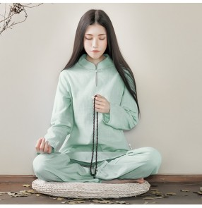 Women taichi kung fu clothing Cotton and linen yoga clothes Zen two-piece suit white Zen clothes female fairy meditation Chinese style Buddhist meditation clothes