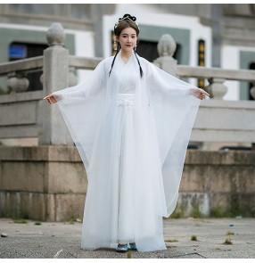 Women White Chinese hanfu fairy princess anime film cosplay dresses ancient costume improved Hanfu super fairy zither dance skirt
