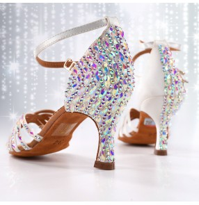 Women White color Competition Latin ballroom dance bling shoes with diamonds Adult girl ballroom tango dancing shoes 8.5cm heel height
