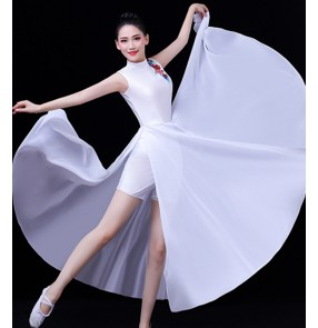 Women white colored chinese folk dance dresses fairy dresses modern dance dresses traditional classical dance dresses