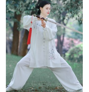 Women White with flowers Tai Chi clothing female Wushu performance Kungfu Uniforms Morning exercise clothing Chinese style spring summer tai ji quan clothes