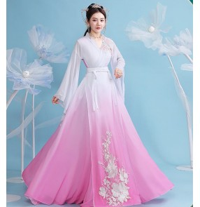 Women white with pink gradient Hanfu fairy dresses Female Chorus Student Classical Dance Performance Annual Meeting Performance dresses