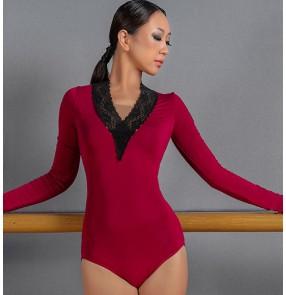 Women wine black colored ballroom dance jumpsuit female lace V-neck waltz tango standard Latin dance practice clothes