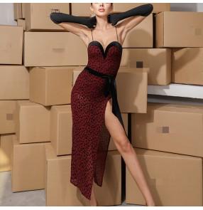 Women wine black leopard latin dresses Latin dance practice clothes suspenders leopard-print mesh dress women with chest pad