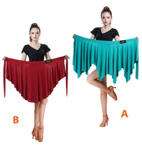 Women wine green black Latin irregular skirt Lace-up hip scarf skirtsTriangle scarf latin dance one piece skirt women's dance skirt