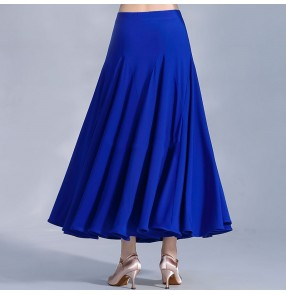 Women wine royal blue ballroom dancing skirts Modern dance skirt Ballroom dance practice clothes Ballroom dancing skirt