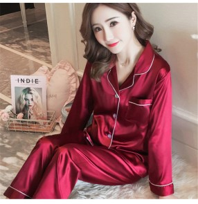 Women wine silver Pajama Sets Silk Satin Pijama Turn-down Collar Sleepwear Lady Long Sleeve Spring Nightwear Femme 2 Pieces Sets Homewear