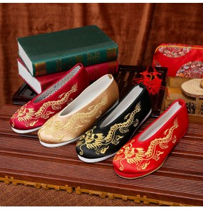 Xiuhe clothing men's Chinese traditional wedding clothing Embroidered shoes bridegroom Dragon Cloth shoes round mouth antique retro flat bottom