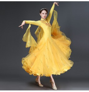 Yellow ballroom dance dress for women stage performance rhinestones black red competition ballroom dancing dresses for female ballroom dance skirts