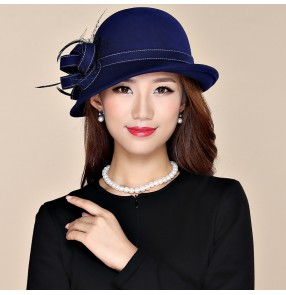 yellow black wool Fedoras church hats for women female fashion wine navy silver colored wool material England style derby party hats for lady
