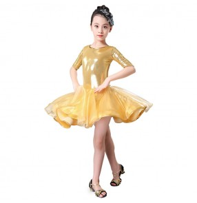 Yellow competition girls children latin dance dresses stage performance rumba samba salsa chacha dance dresses